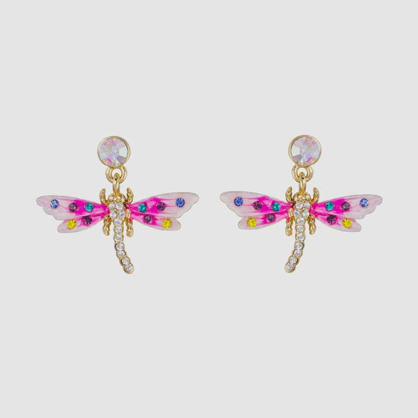 Small Crystal and Enamel Dragonfly Drop Earrings