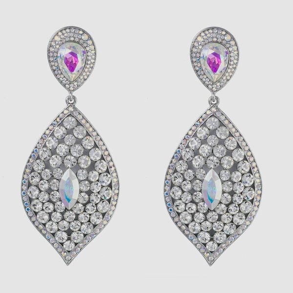 Pointed Oval Shape Crystal Drop Earrings