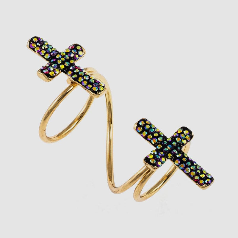 Two Crystal Crosses Adjustable Wrap Ring