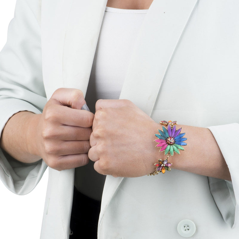 3 Candy Coloured Flowers Chain Bracelet