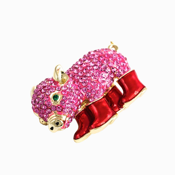 Crystal Piglet In Wellington Boots Brooch