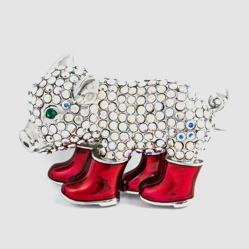 Crystal Encrusted Piglet, In Wellington Boots Brooch