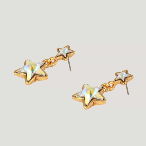 Double Star Crystal Drop Earrings