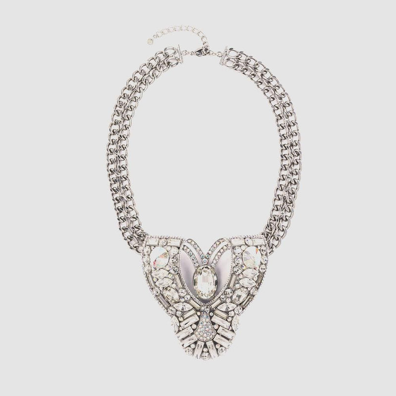 Large Crystal Art Deco Style on Thick Chain Necklace