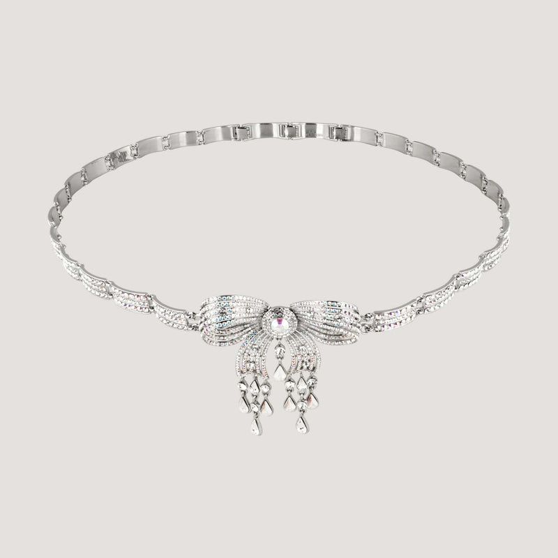 Crystal Bow With Droplets Art Deco Style Belt