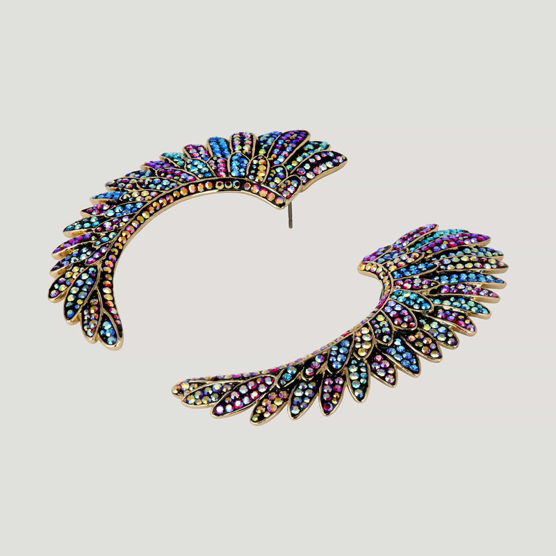 Large Crystal Curved Wing Earrings