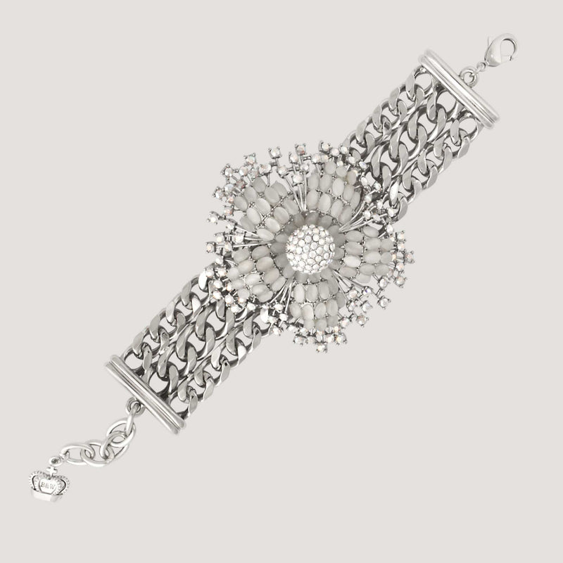 Crystal Flower on Chunky Chain Bracelet