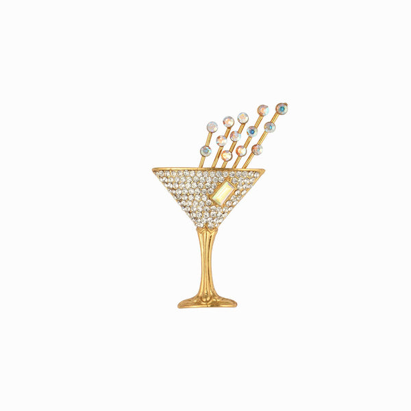 Small Crystal Champagne Glass Pin Brooch