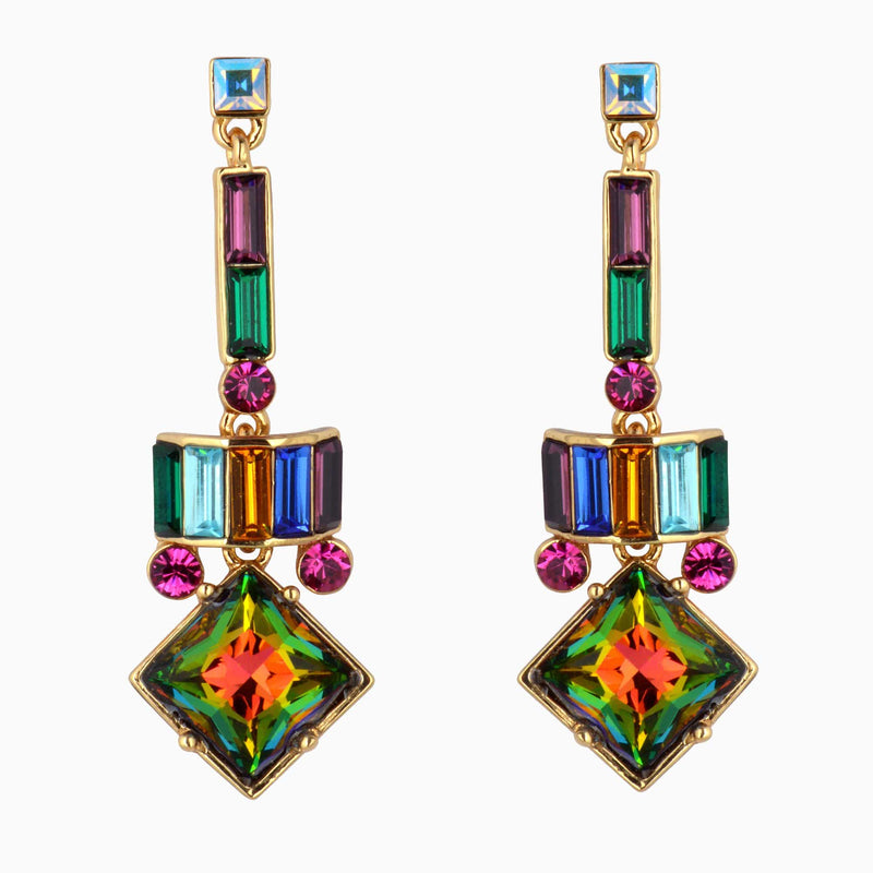 Square Drop Art Deco Earrings