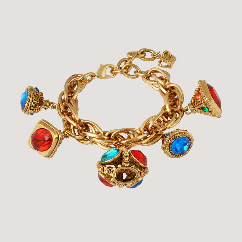 5 Crystal Crowns Charm Chain Bracelet