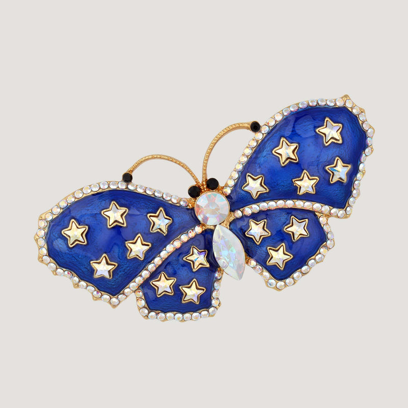 Crystal & Enamel Butterfly Brooch