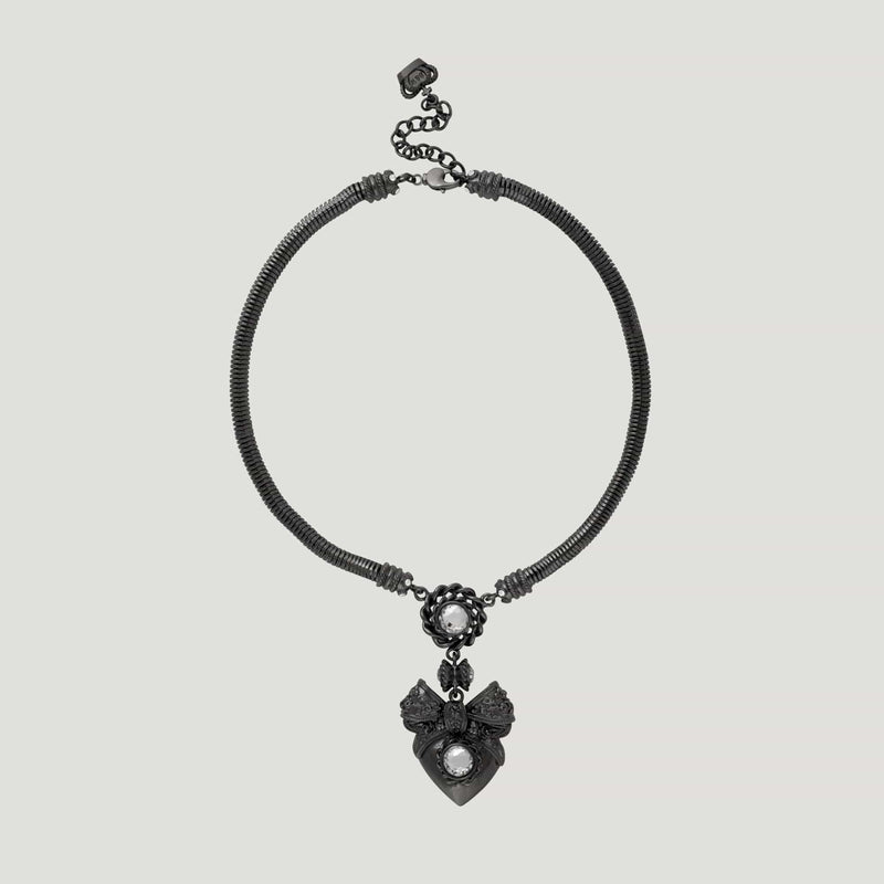 Heart & Bow Pendant On Soft Chain Necklace