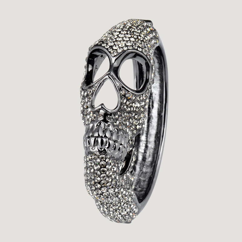 Chunky Crystal Side Skull Bangle