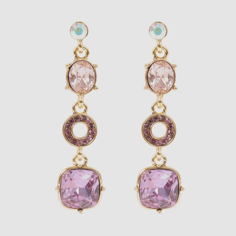 Round Shape Crystals Drop Earrings
