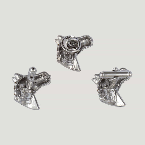 Crystal Horse Head Cufflinks & Clutch Pin Set