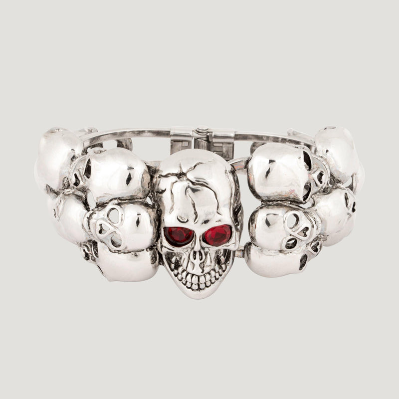 Crystal & Metal Rows of Skulls Cuff