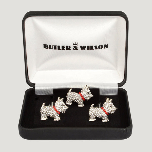 Crystal Scottie Dog Cufflinks & Clutch Pin Set