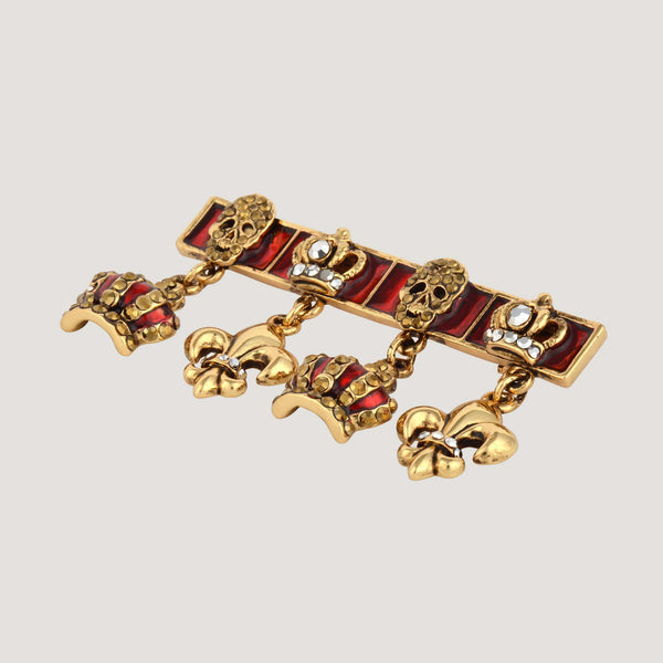 Crowns & Fleur De Lis Charms Bar Brooch