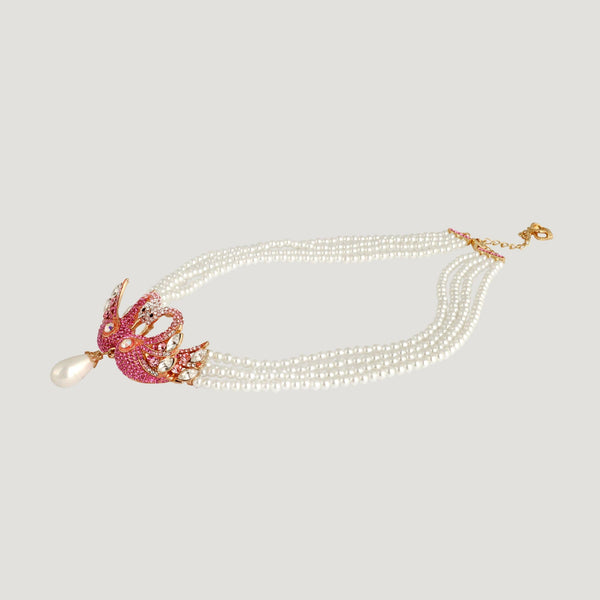 Crystal Double Swan on 4 Faux Pearl Chains Necklace