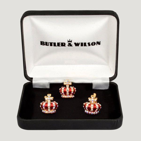 Tiny Crown Cufflinks & Clutch Pin Set