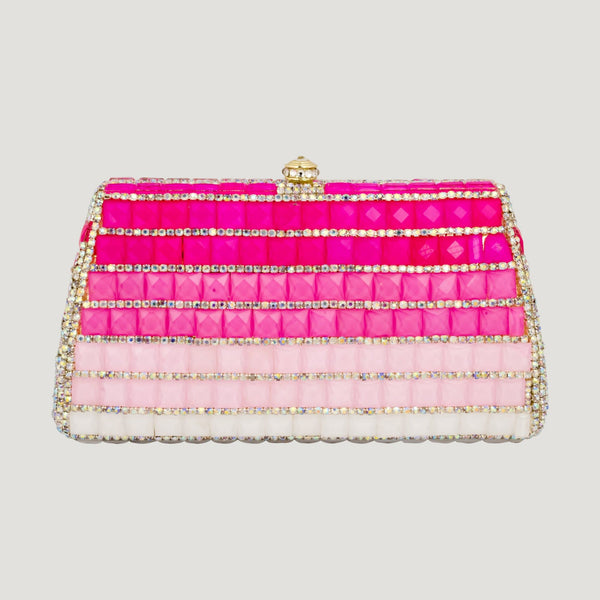 Trapezium Shape Multi Colour Crystal Clutch Bag