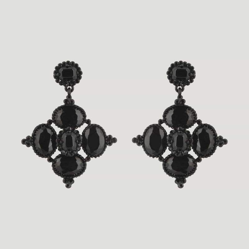 Square Shape Crystal Drop Earrings