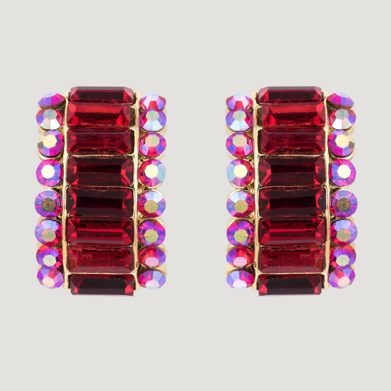 80s Style Baguette Crystal Earrings
