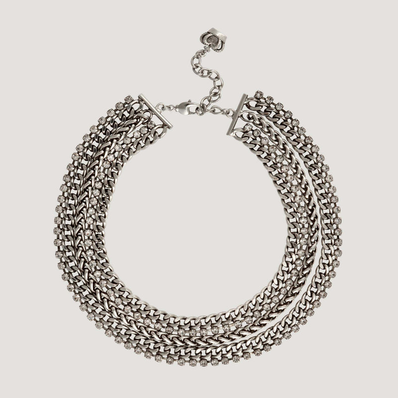Multi Chain Thick Flat Necklace