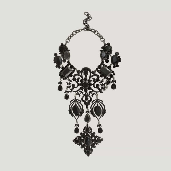 Cross Shape Drop Crystal Elaborate Necklace