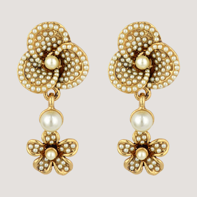 Flower Drop Faux Crystal Earrings