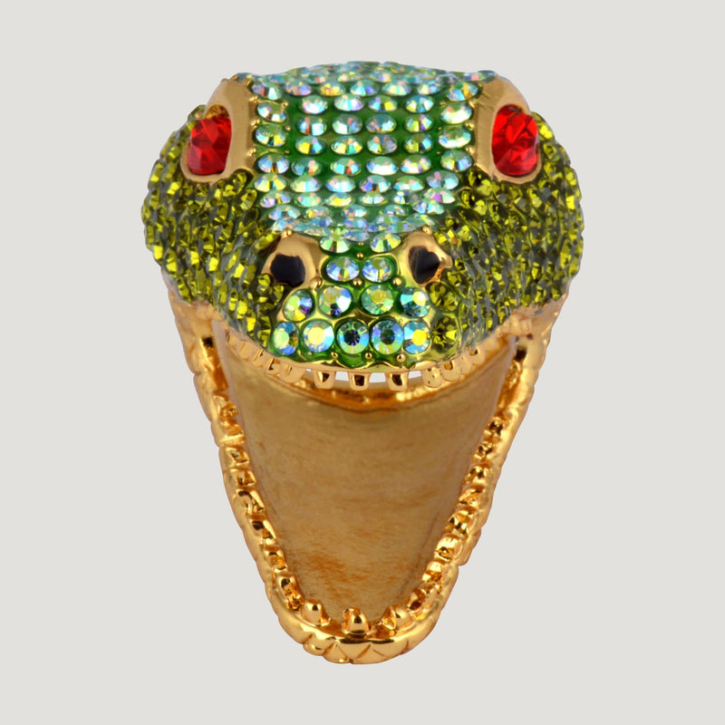 Crystal Crocodile Head Ring