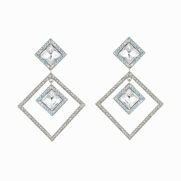Crystal Double Square Stud & Drop Earrings