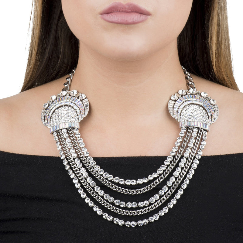 Crystal Double Shell Chain Necklace