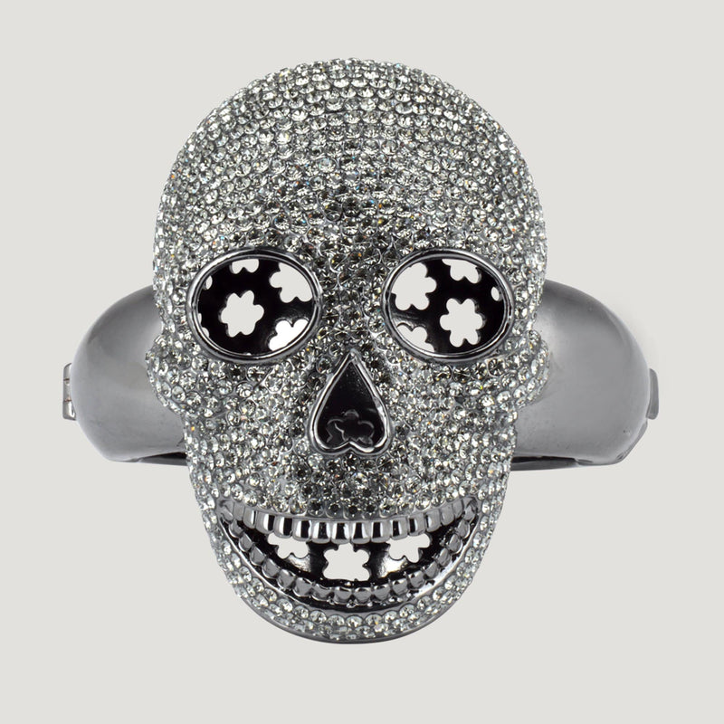 Pewter Crystal Skull With Stars Bangle