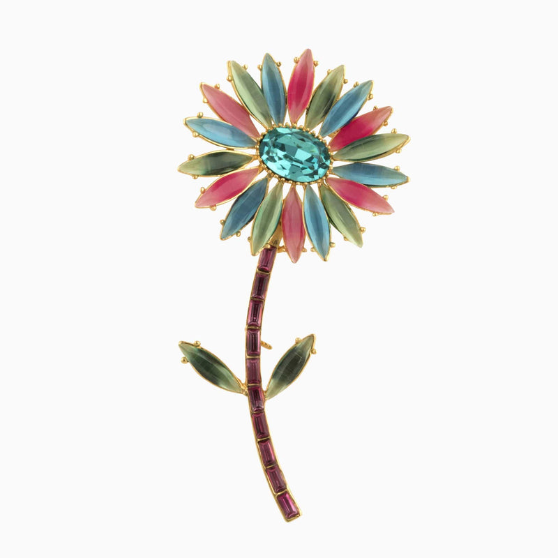 Multi Crystal Flower Stem Brooch