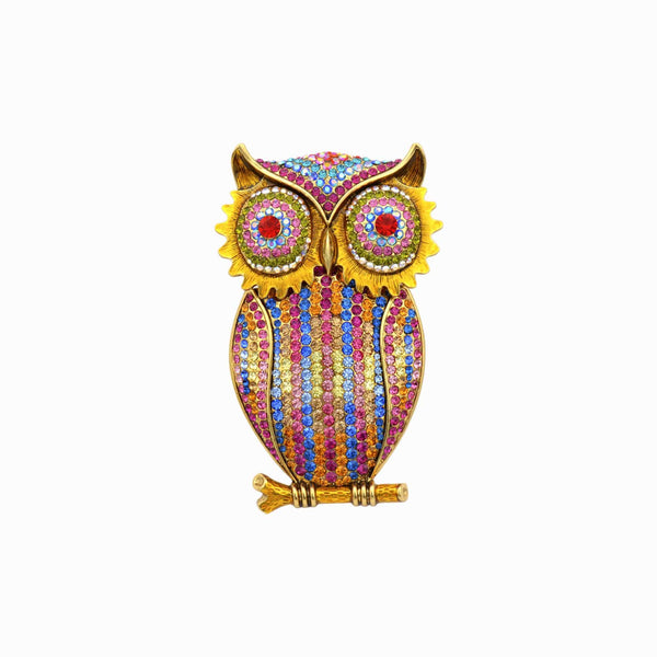 Crystal Owl on a Branch Brooch