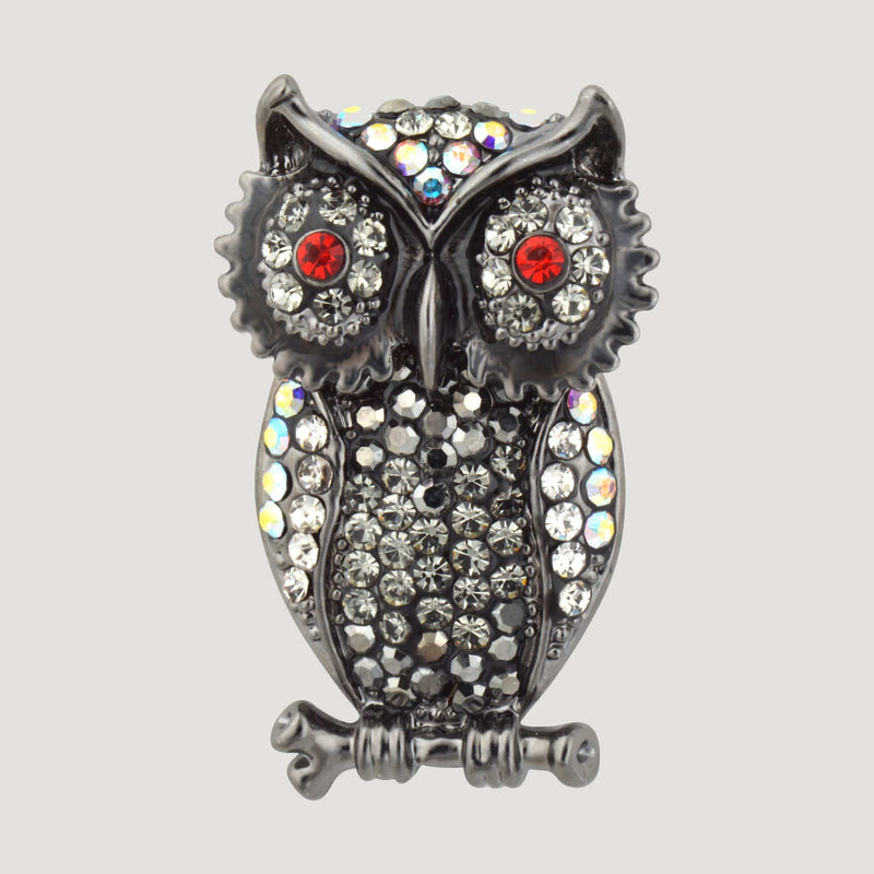 Crystal Owl on a Branch Clutch Pin
