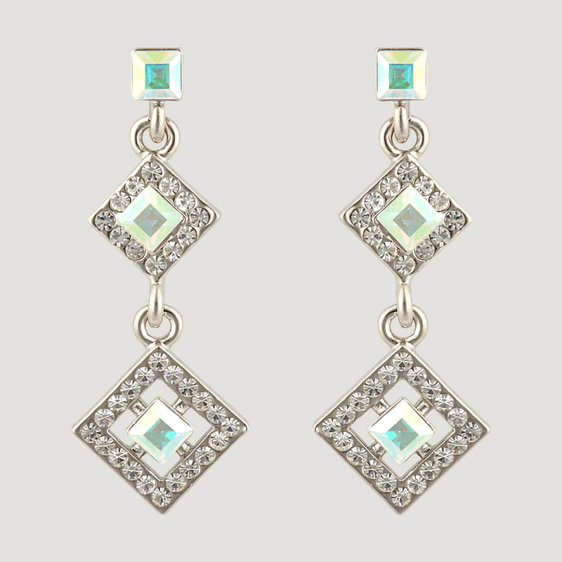 Two Squares with Crystal Drop Earrings