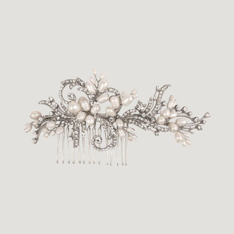 Crystal Elaborate  HairComb with Pearl Branches