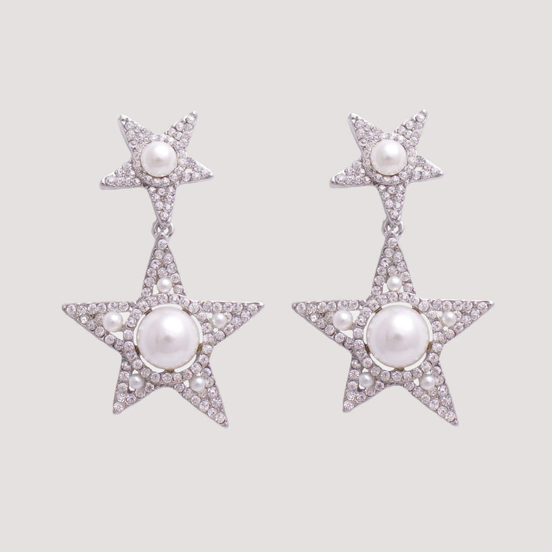 Silver Two Stars with Pearls Drop Earrings