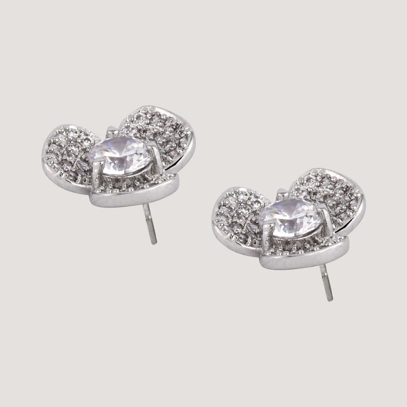 Crystal Three Petals Flower Stud Earrings