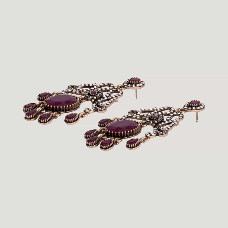 Crystal Filigree Oval with Droplets Drop Earrings