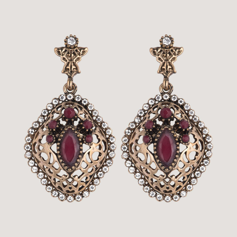 Crystal Filigree Vintage Look Drop Earrings