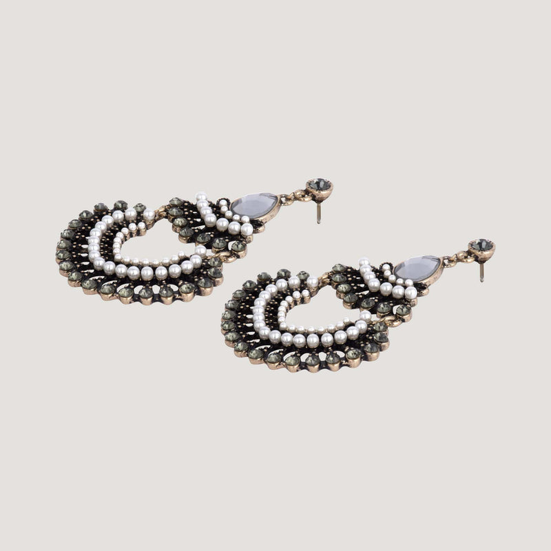 Chandelier Style Crystal and Faux Pearl Drop Earrings