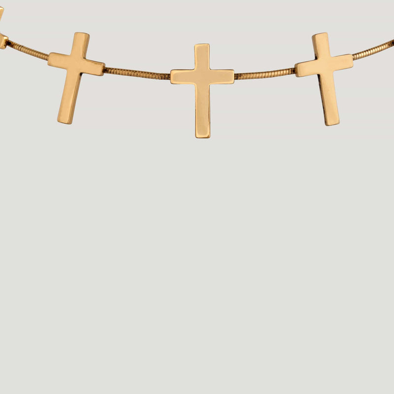 Enamel Crosses Elastic Headband