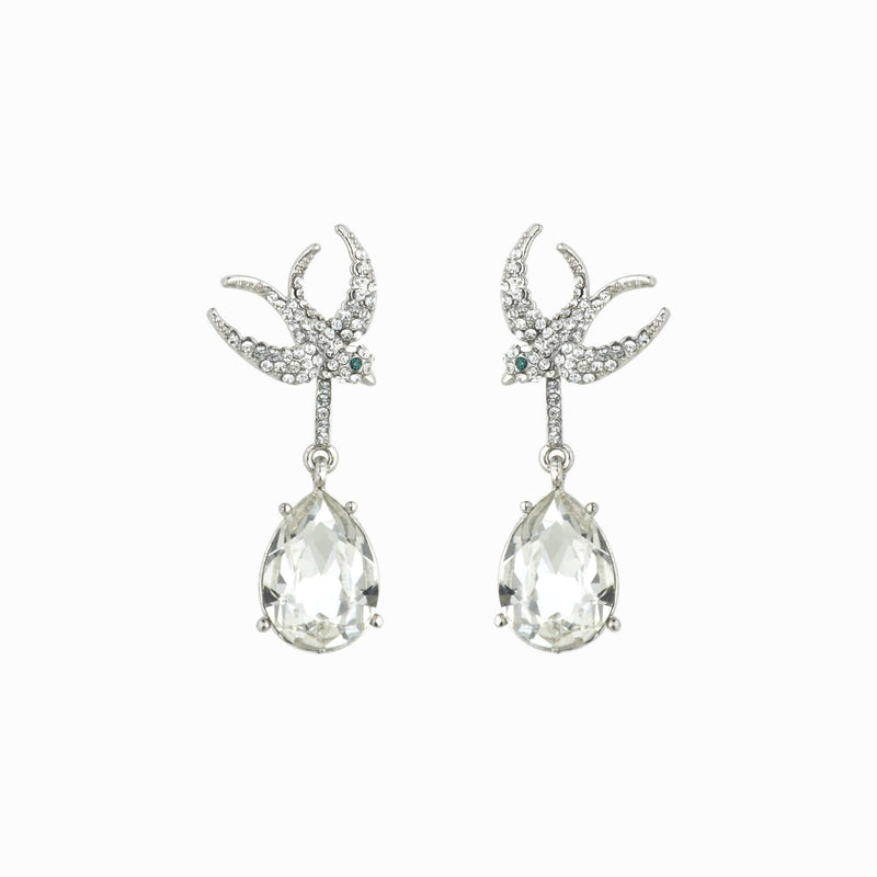 Crystal Flying Swallow Teardrop Earrings