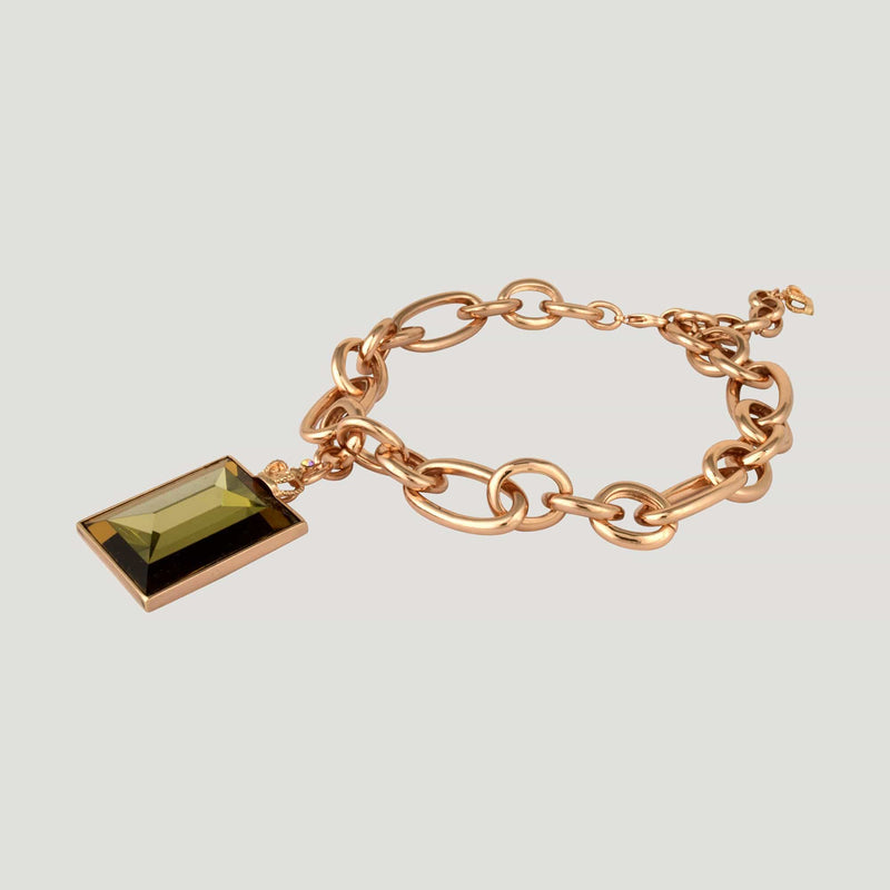 Sideways Rectangle Drop Chunky Links Necklace