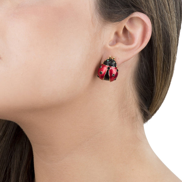 Enamel & Crystal Ladybird Stud Earrings