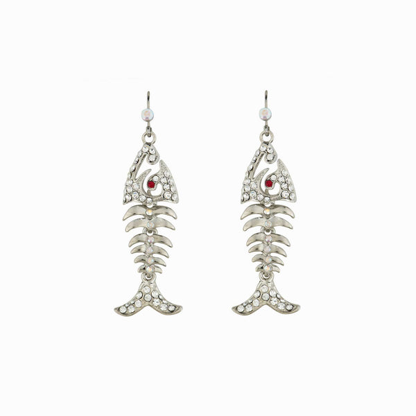 Sparkling Crystal Fish Bone Earrings