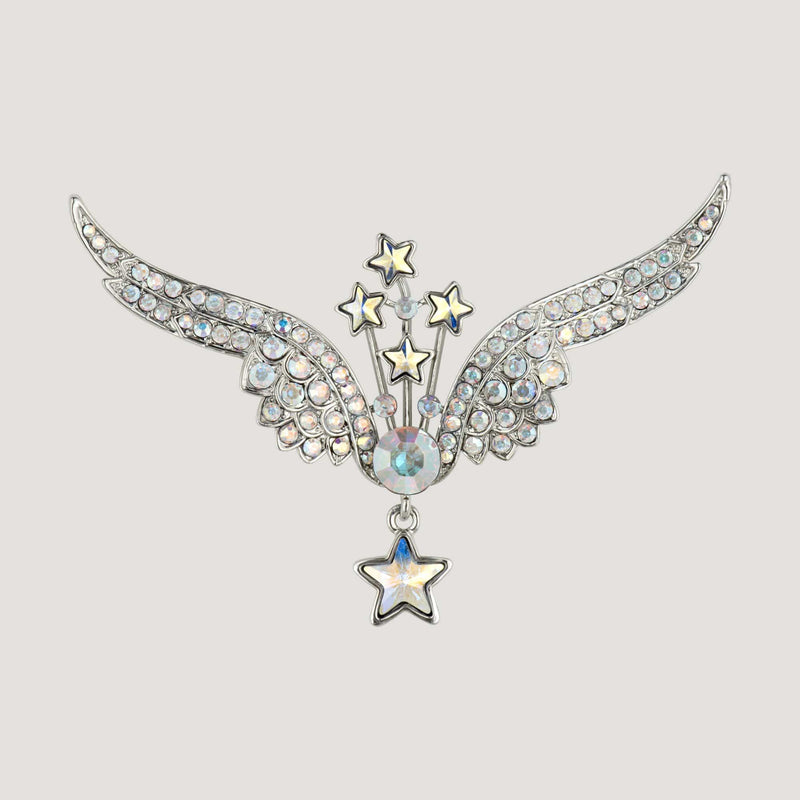 Crystal Open Wings & Stars Brooch